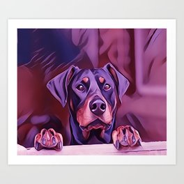 Doberman Looking Out The Window Art Print
