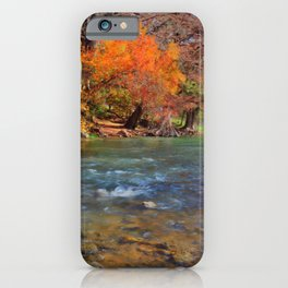 Fall Foliage in the Guadalupe River iPhone Case