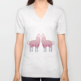 Llamas Kissing Unisex V-Neck