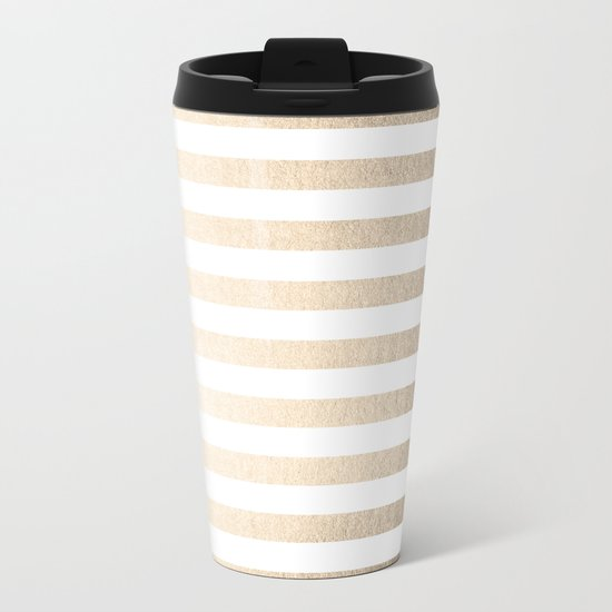 Simply Stripes in White Gold Sands Metal Travel Mug
