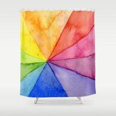 Rainbow Watercolor Geometric Pattern Shower Curtain