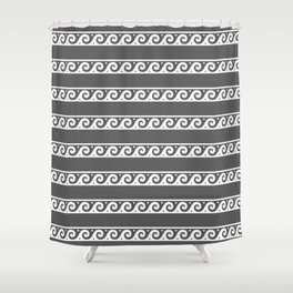 Grey and white Greek wave ornament pattern Shower Curtain