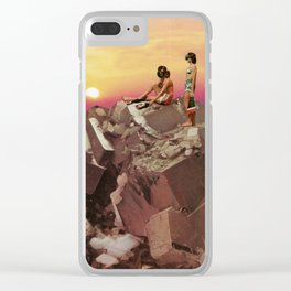 Sunset glitchscape Clear iPhone Case