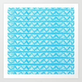 Simple Geometric Zig Zag Pattern - White on Teal - Mix & Match with Simplicity of life Art Print