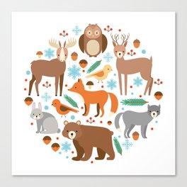 Cartoon Cute Animals Canvas Print