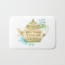 Watercolor Teapot Flowers Bath Mat