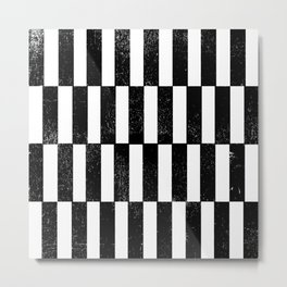 Minimal linocut black and white geometric pattern basic lines stripes Metal Print