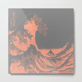 The Great Wave Peach & Gray Metal Print