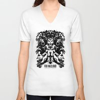 starfox V-neck T-shirts featuring Fox McCloud Star Fox Inspired Geek Psychological Inkblot by Barrett Biggers