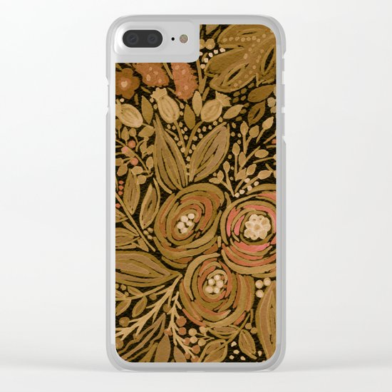 Watercolor .   Black brown floral pattern . Clear iPhone Case