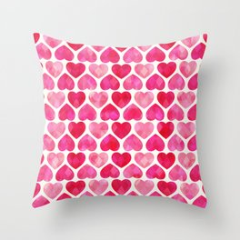RUBY HEARTS Throw Pillow