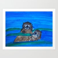 otters Art Prints featuring Sea Otters by Anna Kozlowski