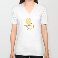 potato V-neck T-shirts featuring POTATO CHIP by Josh LaFayette