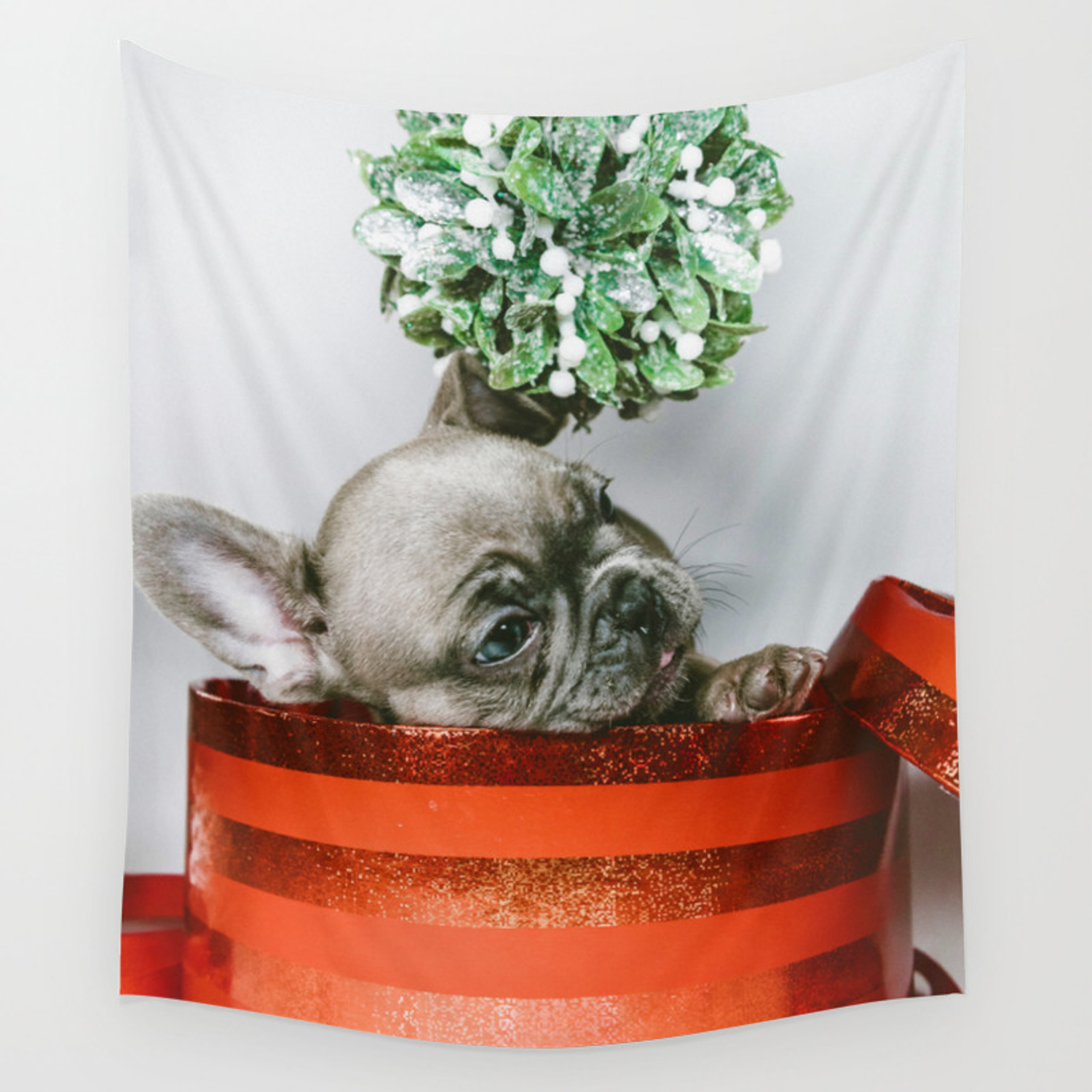 Christmas Pup In A Present With Mistletoe Color Wall Tapestry By Nocolordesigns Society6