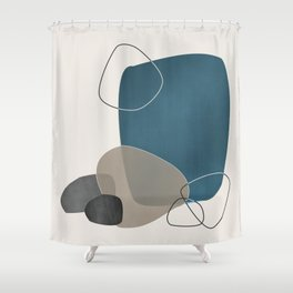 Abstract Glimpses in Aqua and Taupe Shower Curtain