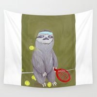 "kevin russ Wall Tapestries featuring Sloths Are Bad At Things- Kevin the Tennis Star by Megan ""Tillette"" Jones"
