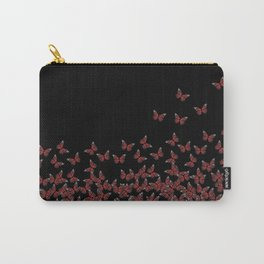 Butterflies, butterfly Horde ;) flying insects themed pattern, red and black, vector design Carry-All Pouch