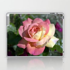 Pretty pink rose garden flower. Floral nature photography.   Laptop & iPad Skin