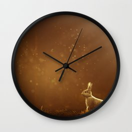 Rabbit in the Sunlit Forest Wall Clock