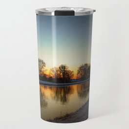 Winter sun early morning waterfront Travel Mug