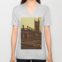 WW2 Bombed out Church Liverpool (Digital Art) Unisex V-Neck
