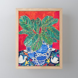 Prayer Plant in Blue-and-White Pot on Swan Table Cloth After Matisse Painting Framed Mini Art Print