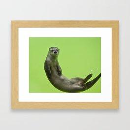 Green Otter Framed Art Print