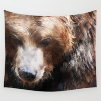 bear Wall Tapestries featuring Bear // Gold by Amy Hamilton