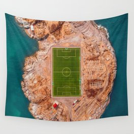 Soccer Field on a Remote Island - Aerial Photography Wall Tapestry