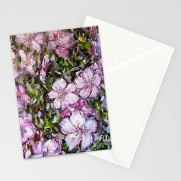 LET LIFE BE BEAUTIFUL LIKE SPRING AZALEA - abstract floral painting by HSIN LIN / HSIN LIN ART Stationery Cards