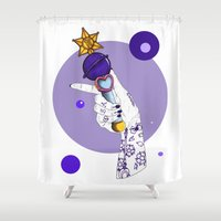 saturn Shower Curtains featuring Saturn by scoobtoobins