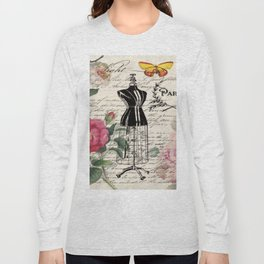 french country rose floral modern vintage dress mannequin paris fashion Long Sleeve T-shirt
