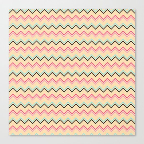 Pink And Blue Chevron Geometric Pattern Canvas Print