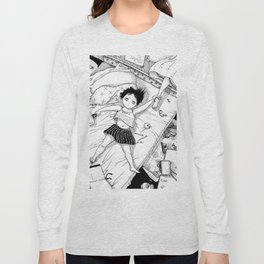 Monochrome Surrealistic Illustration:Hold Your Ankle in My Messy Bedroom Long Sleeve T-shirt