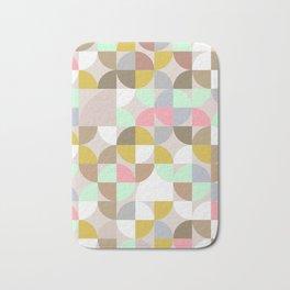 Pastel midcentury pattern Mint beige pink Bath Mat
