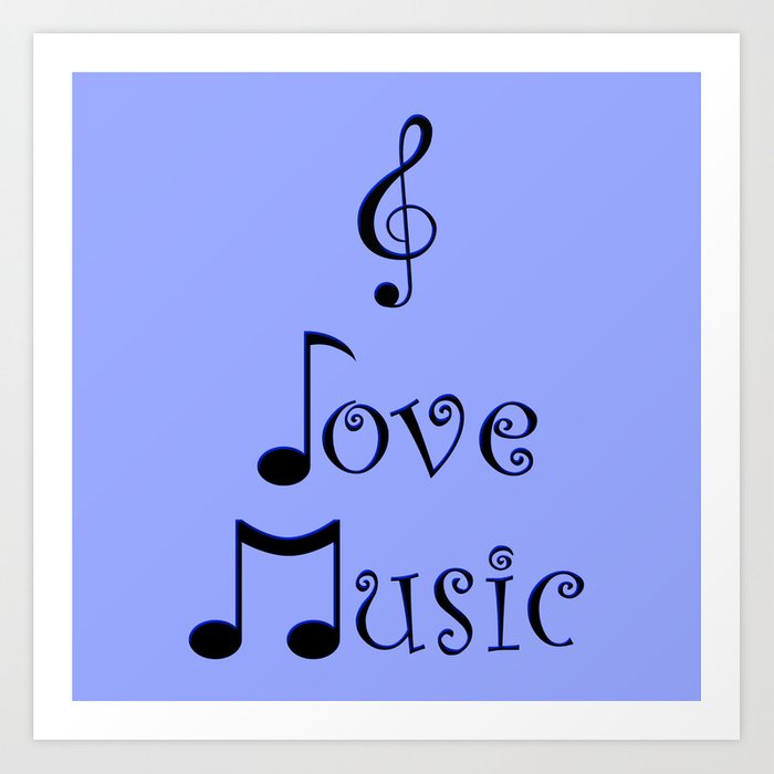 I Love Music - Bohemian Blue Art Print