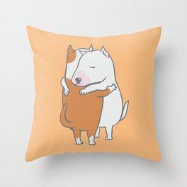 Bull Terrier Hugs Throw Pillow