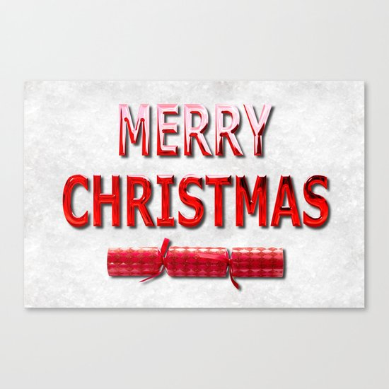 Merry Christmas With Red Cracker in Snow Canvas Print