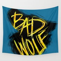 bad wolf Wall Tapestries featuring BAD WOLF by Amanda Steuck