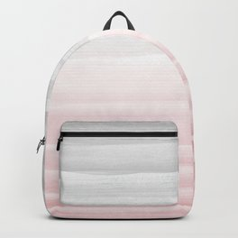 Touching Blush Gray Watercolor Abstract Stripe #1 #painting #decor #art #society6 Backpack