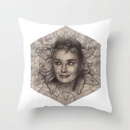 Audrey Hepburn dot work portrait Throw Pillow