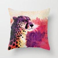 cheetah Throw Pillows featuring Cheetah by Fallen Apple Designs