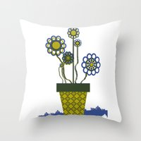 leah flores Throw Pillows featuring Flores by Constant