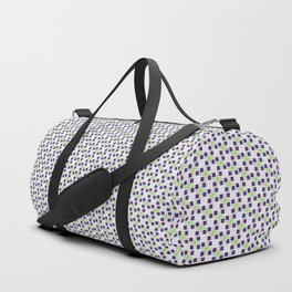 Small Purple Boxes and Green Lines Duffle Bag