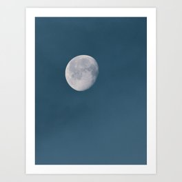 Blue Moon | Blue Hour | Mystical Moon in Clouds | Waning Gibbous | Waning Moon Art Print