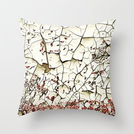 Cracked Paint White Textured Abstract Throw Pillow