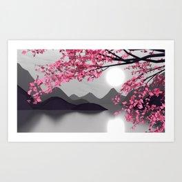 Low Poly Pink Tree Art Print