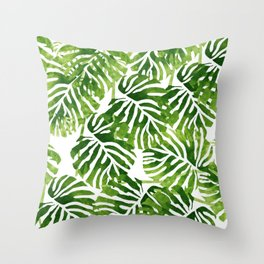 Tropical Leaves - Green Throw Pillow