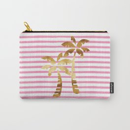 Palm Trees & Stripes - Pink/White/Gold Carry-All Pouch