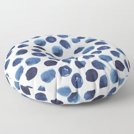 India - blue paint, ink spots, design, watercolor brush, dots, cell phone case Floor Pillow